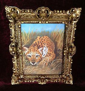CUADRO-CON-ANTIGUO-MARCO-ORO-wild-leopardo-Africa-Animales-Mural-45x38-Barroco
