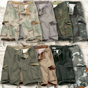 SURPLUS VINTAGE MENS MILITARY STYLE ARMY COMBAT CARGO SHORTS 100 ...
