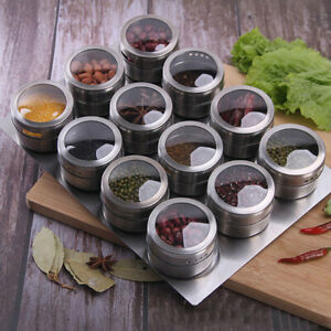 Home Magnetic Stainless Steel Spice Jar Revolving Rack Cooking Chef Food US