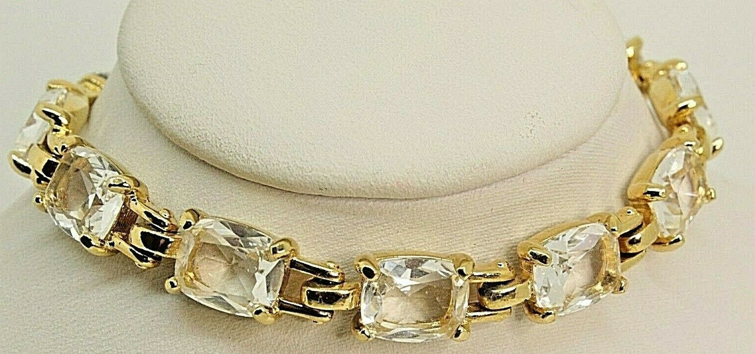 Signed Swarovski Bracelet Clear Crystal 22kt gold Plated 8  B71
