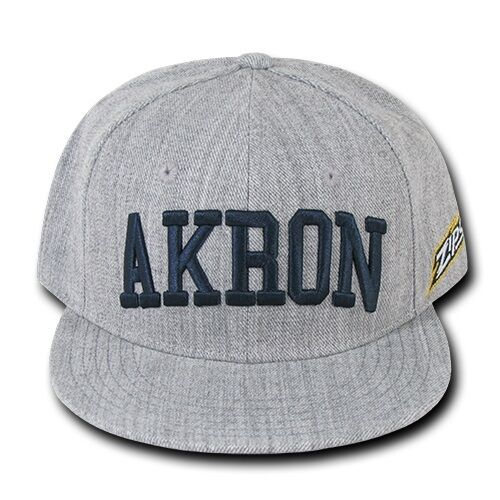 Heather Gray University Akron UA Zips NCAA Flat Bill Snapback Baseball Cap Hat