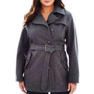 court asymétrique gris Manteau n ® A Nwt Size 220 a Plus chiné ceinturé 1x F1w0f8