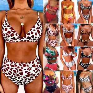 2107672f56f3a Women High Waist Padded Bra Bikini Swimsuit Bandage Push-up Swimwear ...