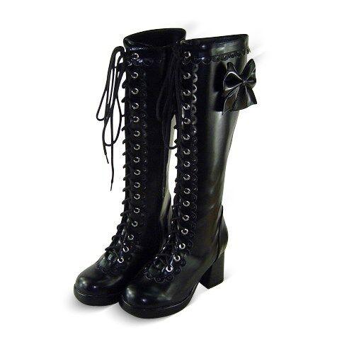 schwarz gothic gotik lolita goth stiefel boots Shoes Schuhe high heel neu damen