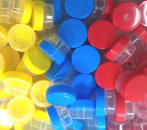 21-TINY-Plastic-Lip-Gloss-JARS-1-tsp-Creme-yellow-blue-red-caps-3301-DecoJars