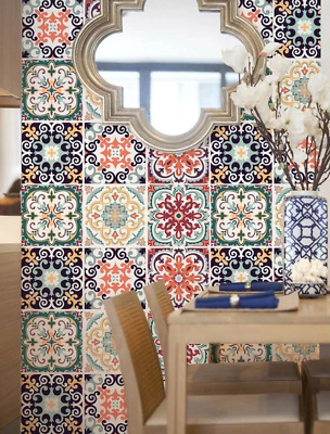 "Wall Stickers /""Mexican Tile Talavera/"" Decor Art Mosaic Set Decal Random 8 × 8/"""