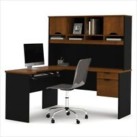 Computer Desk Home Office Workstation Table L-shape Wood With Hutch In Brown on Sale