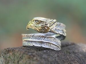 Mens-Ladies-Adjustable-Sterling-silver-Eagle-Feather-ring-Gift-for-him-or-her