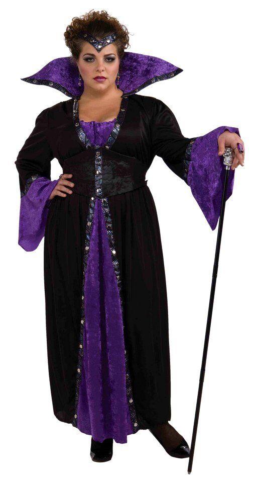 Sorceress Costume Plus Size Long 3 Pc Blk/Purp Dress Headband & Corset Belt 3X