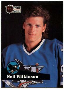 release date aa7d0 867ba Details about Neil Wilkinson #328 San Jose Sharks Pro Set 1991-2 Ice Hockey  Card (C414B)