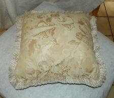 Off White Cherub Print Decorative Throw Pillow  17 x 17