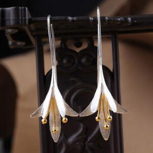 925-Silver-Plated-Long-Flower-Jewelry-Earrings-Handmade-Drop-Earring-Gift