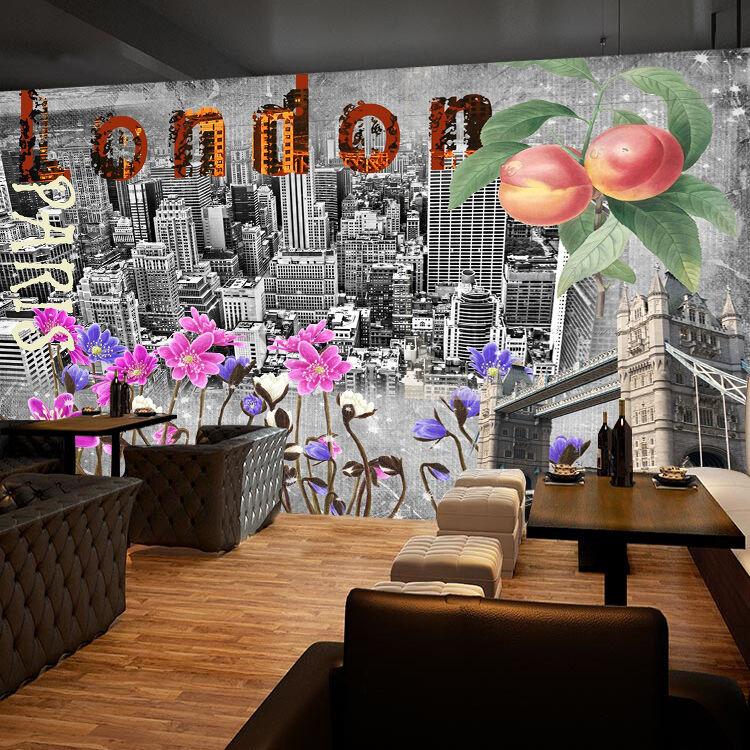 3D Motif Fleur 6 Photo Papier Peint en Autocollant Murale Plafond Chambre Art