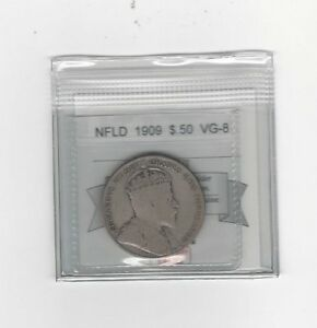 1909-Coin-Mart-Graded-Newfoundland-50-Cent-VG-8