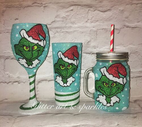 The Grinch Inspired Glitter Wine Glass Christmas