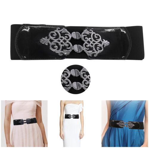 70mm Waist Black Belt Elasticated Stretch Adjustable Waistband Womens Fashion