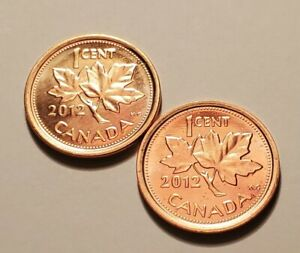 2 X 2012 CANADIAN PENNY CENT BU FROM RCM MINT NON MAGNETIC LAST YEAR UNC #H4752