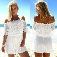 Womens Sexy Lace Playsuit Summer Beach Short Mini Dress Jumpsuit Rompers UK 8-24