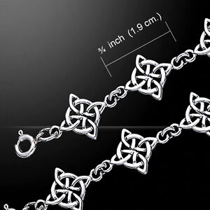 Celtic Knotwork and Hearts .925 Sterling Silver Bracelet by Peter Stone