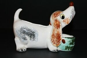 "Vintage MCM Ceramic Dog Planter Green Brown Blue 7.5 x 6 inches ""Japan"""