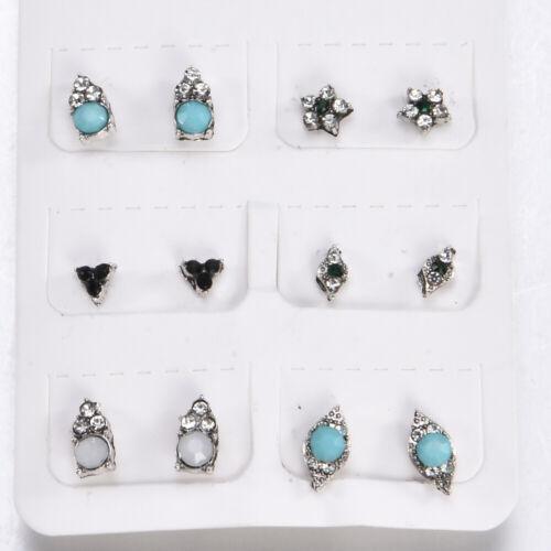 3//5//9//12 Pair Women Boho Earrings Ear Stud Turtles Crystal Silver Tone Jewelry