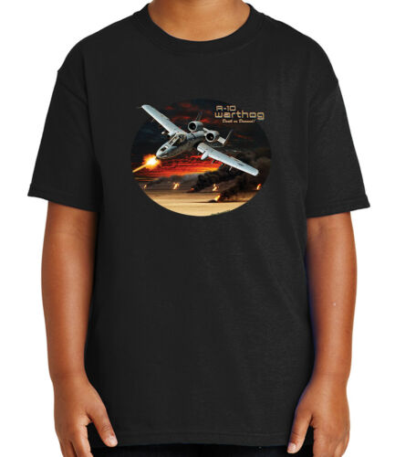A-10 Warthog Aircraft Kid/'s T-shirt Thunderbolt II Jet Hog Tee for Youth 1963C