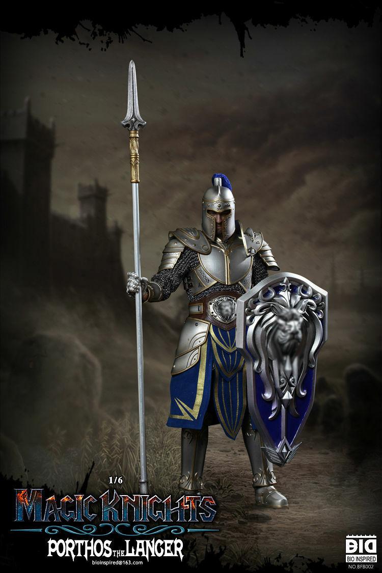 Bio inspirado Magic knichts Serie Metal Armadura Lancer el Porthos 1 6 figura