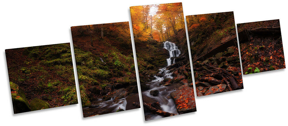 Forest AUTUMN RIVER Season Picture Canvas Wall Art Five Panel