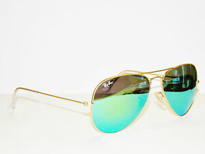 9e84f15467 RAY BAN sunglasses 3025 Rayban 112 19 55 Gold GREEN Mirror AVIATORS ...