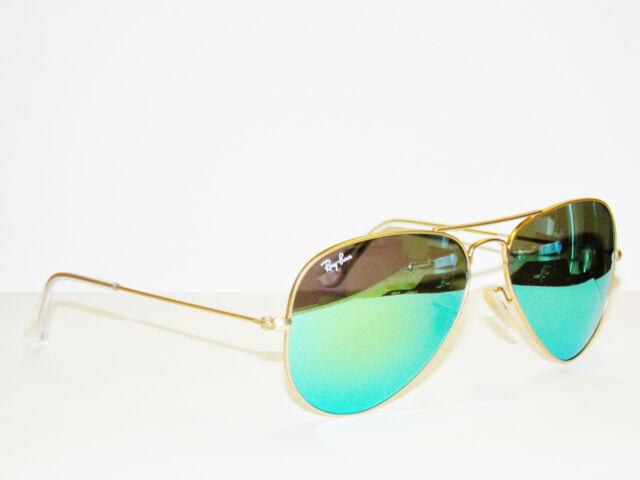 RAY BAN sunglasses 3025 Rayban 112/19  55 Gold GREEN Mirror AVIATORS Free s/h!