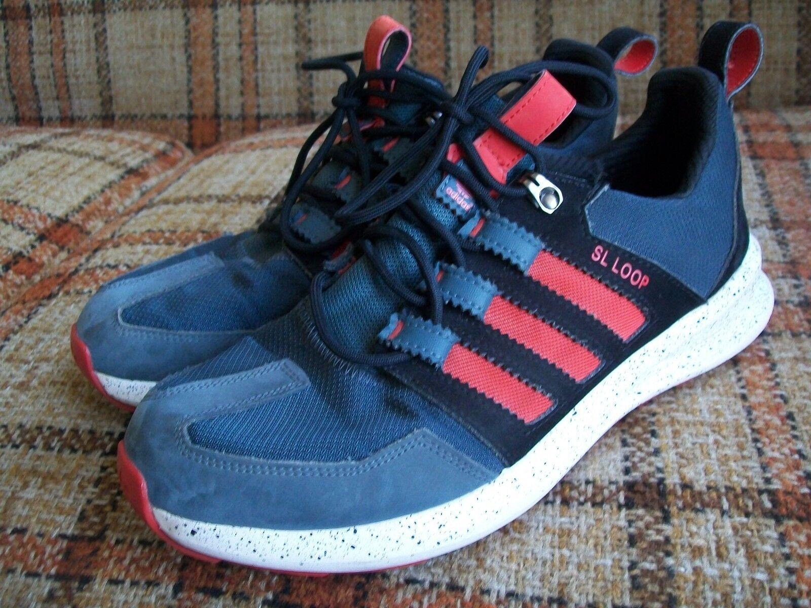 Adidas Mens Size 9 Loop (FR 42 2/3) SL Loop 9 Black Red Stripe Running S84484 e082df