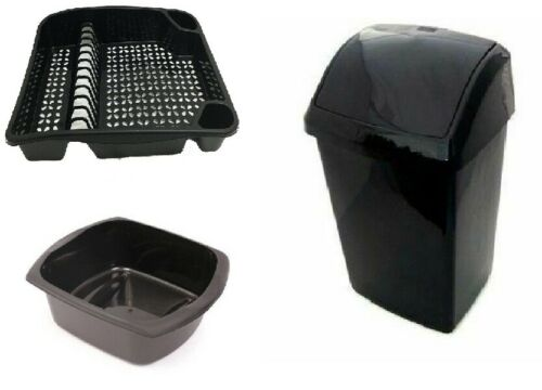 Washing Up Bowl Extra Large Dish Drainer Set Of 3 Plastic 50 L Swing Top Bin