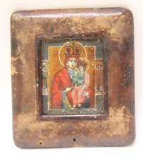 Antique Russian Icon Oil Painting Virgin Mary and Jesus Religious Painting