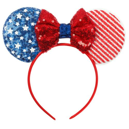 4th of July Sequin Ears Hair Band for Girls Striped Stars Headband for Girls