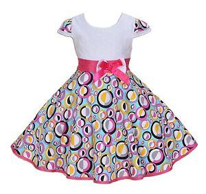 NUEVO-Ninas-Blanco-y-Color-circular-Fiesta-Vestido-en-4-5-6-7-8-anos