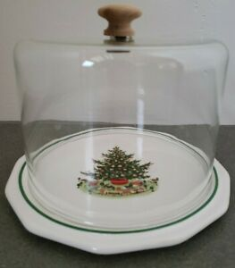 Pfaltzgraff-Christmas-Heritage-covered-Cheese-Plate-Dish-amp-clear-glass-lid-USA