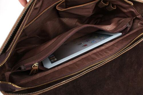 """Men/'s Vintage Real Leather Shoulder Messenger Bag 15/"""" Laptop Briefcase Crossbody"""