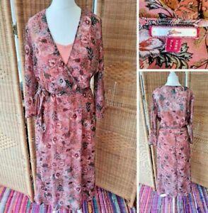 Joe Browns Sheer Pink Floral 3/4 Sleeve Slip Midi Boho Hippy Occasion Dress 12