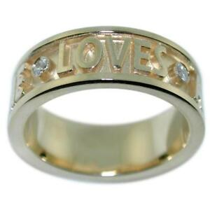 """0.34 Ct Diamonds """"Loves All Of You All Of Me"""" Men's Ring 14k Yellow Gold Sz 11.5"""