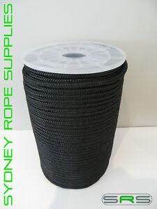 8MM X 100MTR BLACK DOUBLE BRAIDED POLYESTER YACHT ROPE