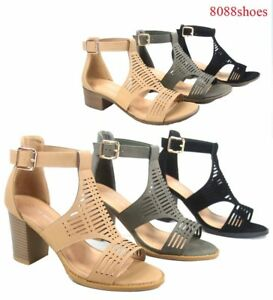 Women-039-s-Buckle-Open-Toe-Ankle-Strap-Low-High-Heel-Sandal-Shoes-Size-5-10-NEW
