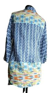 JOHNNY WAS 3J Workshop Womens Multicolor Collared Button Down Shirt Size Small