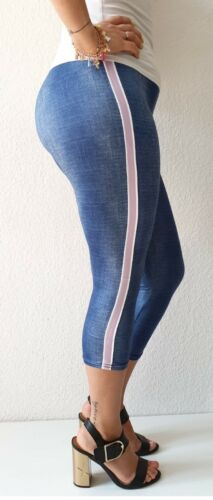 Damen Kurzehose 3//4 Leggins Gr.34-52 Caprihose Leggings Hoher Bund Bermuda Neu