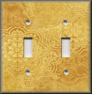 Light Switch Plate Cover Old World Tuscan Medallions Golden Yellow Decor Ebay