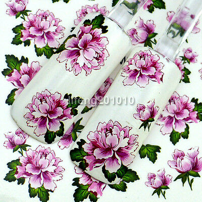 water transfer nail stickers decals decoration tool large peony flowers design