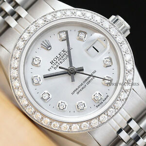 c89035aa7c582 Details about LADIES ROLEX DIAMOND DATEJUST 18K WHITE GOLD STAINLESS STEEL  SILVER DIAL WATCH