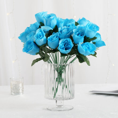 84 Turquoise SILK ROSE BUDS Wedding Party Flowers Bouquets Decorations on SALE