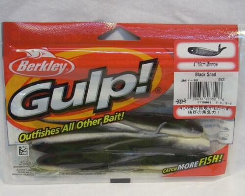 "Package of 8 Berkley Gulp 4/"" Black Shad Minnow Soft Plastic Fishing Bait Lures"