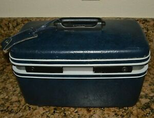 Vintage-Samsonite-Contour-II-Dark-Blue-Travel-Make-Up-Luggage-Hard-Case-Rare