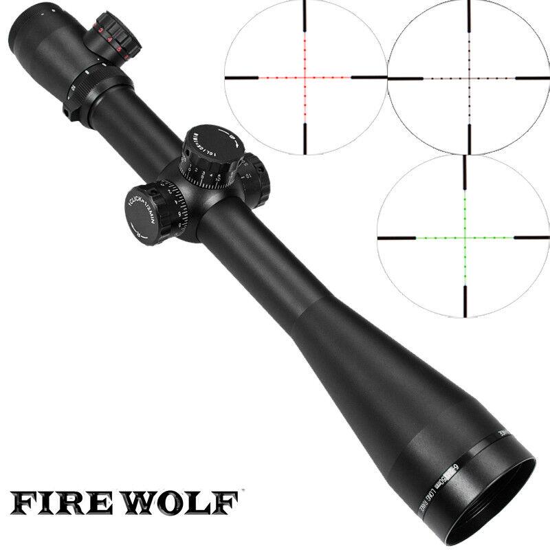 FIRE WOLF Mark 4 m³ 6-24x50 mm AO Iluminado Mildot Lado Rueda de Caza Alcance